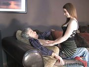 Young princess torturing elderly slave