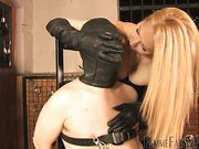 Smotherd slave worshipped mistress' boobs