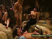 Three babes dominate on hot couple