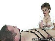 Mature femdom bondage handjob