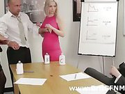 Three bad CFNM girls torment man in office