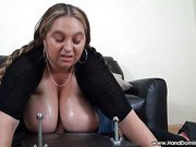 Boobs and handjob for slave