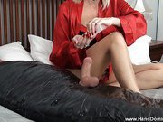 Handjob for totally wrapped slave