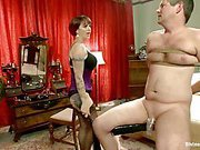Two slaves for horny mistress