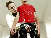 Latex bitch and slave boy
