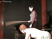 Crosssdressed slave caned by mistress