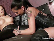 All leather lesbians practice fingering