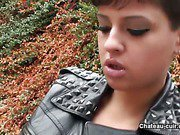 Biker girl in leather masturbates