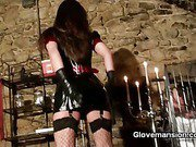 Hot mistress teasing caged slave