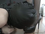 Bullwhipped slave made licking shoes