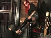 Masked slave worshipping leather boots
