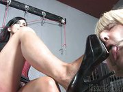 Foot loving crossdresser got spanked