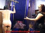 Mature mistresses spanking slave's ass