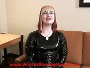 Blonde mistress talks and poses