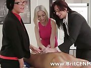 Handjob for CFNM man from British girls