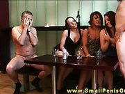 SPH femdom hotties laught at tiny cock