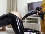 Mistress strapon fucks slave with Horse-Cock-Dildo