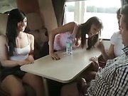 Group of femdom babes wanking tiny dick