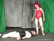 Melissa hard face sitting her gagged chastity cuckold slave