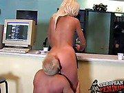 Leggy blond Shila spanks slave