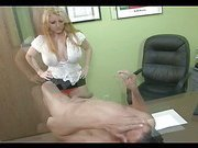 Offic lady ball busting