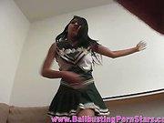 Latina cheerleader ballbusting