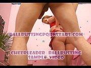 Cheerleader bites slave's cock