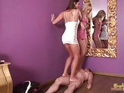 Trampling Mistresses Dance All Over A Submissive Male
