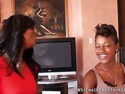 Ebony babes having playtime with a white slave