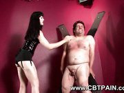 gothic domina gives cbt and spanking