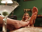 Foot obsessed stepmom milf gets drilled by step daughter!