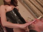 Cock jerking with ball punishment