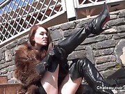 Misha wanks in fur and leather