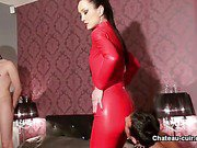 Double ejaculation on leather catsuit