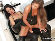 Asian angel in leather gets fucked