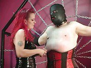 Domina Melissa whips fat slave