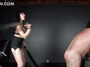 Big guy in chains takes a BDSM ass spank