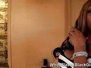 White Slave Licking Black Femdom Pussy