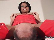 Black domme smothers by sitting on an old white man