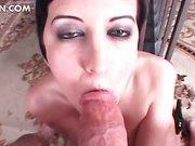 Sexy ball busting slut biting schlong in POV