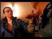 Slutty gal giving a nice handjob