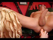 Hot blonde rubbing her slave's asshole