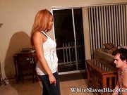 black femdom dominates white slave