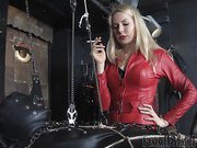 With two slaves in her dungeon