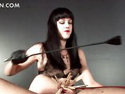 Dominatrix snapping her sex slave and clipping his cock