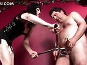 Slutty mistress using hardcore sexual torture on her man