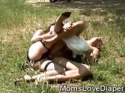 Busty babysitter fucks a filthy adult baby in the park