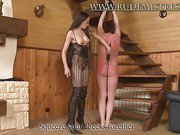 Russian mistress punishing her sub