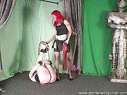 Mistress Melissa spanking and paddling pony slave