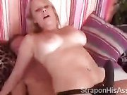 Strapon blondie moans loudly mounting her boyfriend